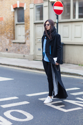 the golden diamonds,blogger,jeans,scarf,sunglasses,long coat,knitted scarf,white sneakers