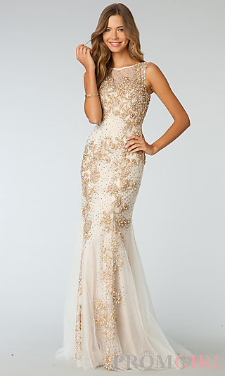 Prom Dresses, Celebrity Dresses, Sexy Evening Gowns - PromGirl: Beaded Floor Length Sleeveless Dress