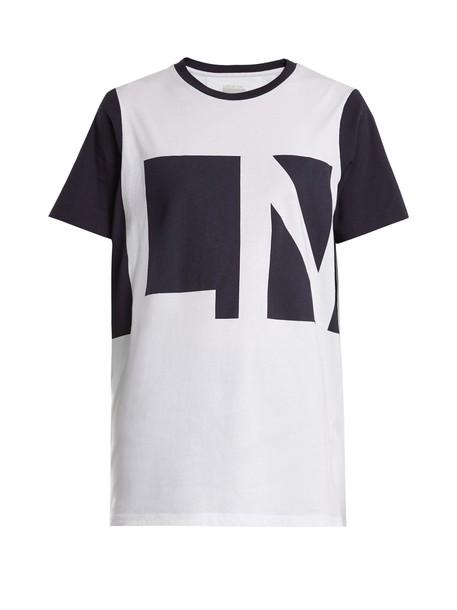 lndr t-shirt shirt cotton t-shirt t-shirt cotton print white top