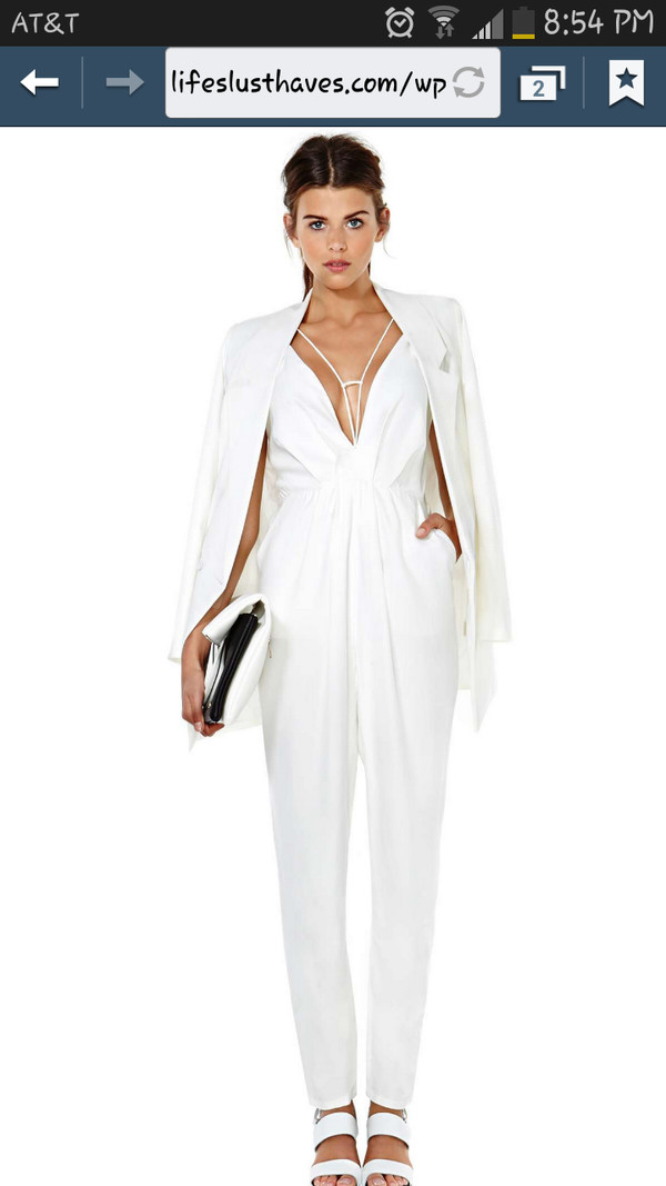 Jumpsuit: white jumpsuit, pants, low cut, strapless, white ...