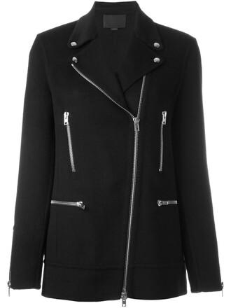 coat zip women black wool