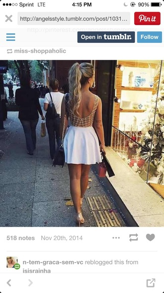 dress white dress short dress cool back
