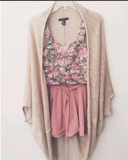Shorts: roses, oversized cardigan, beige, cardigan, tumblr ...