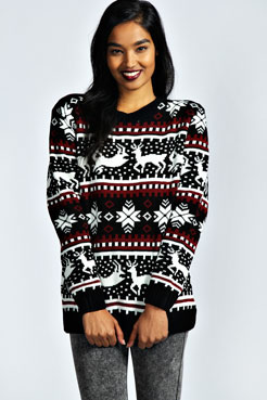 Alexia Reindeer Knit Jumper at boohoo.com