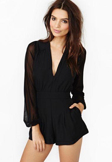 d0127d6e40ad Black Deep V-neck Long Sleeve Playsuit - Sheinside.com