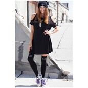 dress,obsezz,t-shirt dress,tunic dress,tunic,black,cut-out,cold shoulder dress,hipster,knee high socks,cats,beanie,shoes,sneakers,stylish,style,fashion