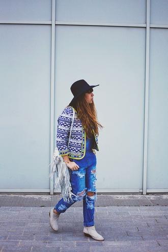fringe and frange blogger fringed bag spring jacket ripped jeans spring outfits aztec ankle boots black hat