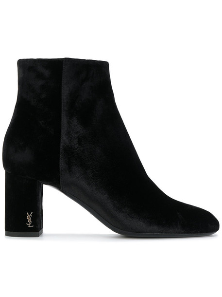 Saint Laurent zip women leather black velvet shoes