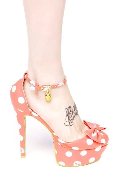 pink cute romantic girly retro bow shoes Pin up high heels platform high heels kawaii peach peach heels pink heels pretty strappy sandals strappy heels bow heels polka dots polka dots shoes gold retro shoes vintage found amazon iron fist
