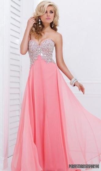 dress strapless jewels pink dress prom dress long prom dress