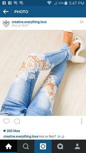 jeans,lace,light blue jeans,blue jeans,white lace,floral