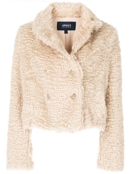 ARMANI JEANS jacket faux fur jacket fur jacket cropped fur faux fur women nude