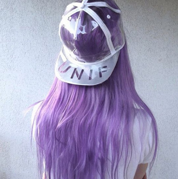 unif violet purple hair aliencreature daniella cool girl style cap