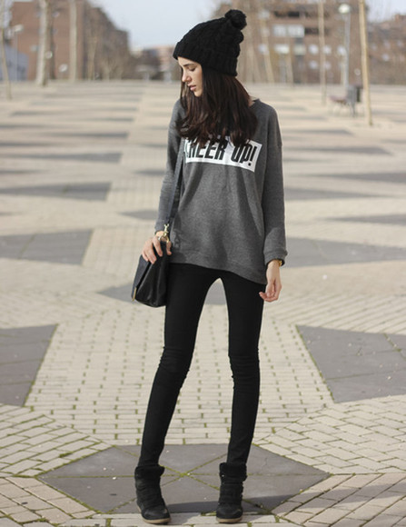 shirt grey shirt clothes jumper grey words print sweater long grey jumper grey sweater
