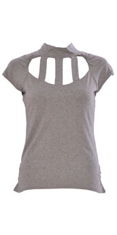 shirt,women sleeveless back & front cage cut out polo neck top  grey