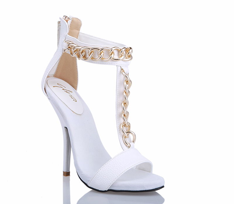 Zanotti Gold Chain Alien 115 White Leather Heel Sandals [XY-5098 ...