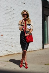 atlantic pacific,t-shirt,skirt,bag,shoes,jewels,sunglasses,valentino rockstud,valentines day,Valentino,red bag,celine bag,celine,shirt,beige shirt,black leather skirt,leather skirt,black skirt,red sandals,sandal heels,mid heel sandals,spring outfits,blouse