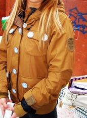 jacket,brown,white buttons,zip-up,patch,large white buttons,hood,fp patch?,logo patch on sleeve,burnt sienna rusty brown