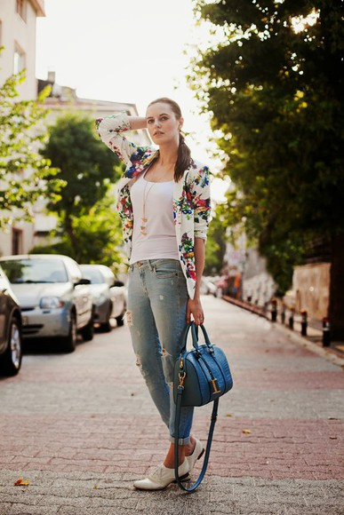 jacket bag floral blazer the bow-tie top jeans