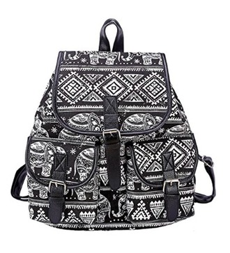 bag backpack tribal pattern aztec tote bag college girl black and white travel bag