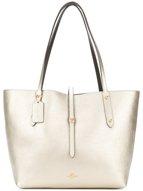 coach women leather grey metallic bag