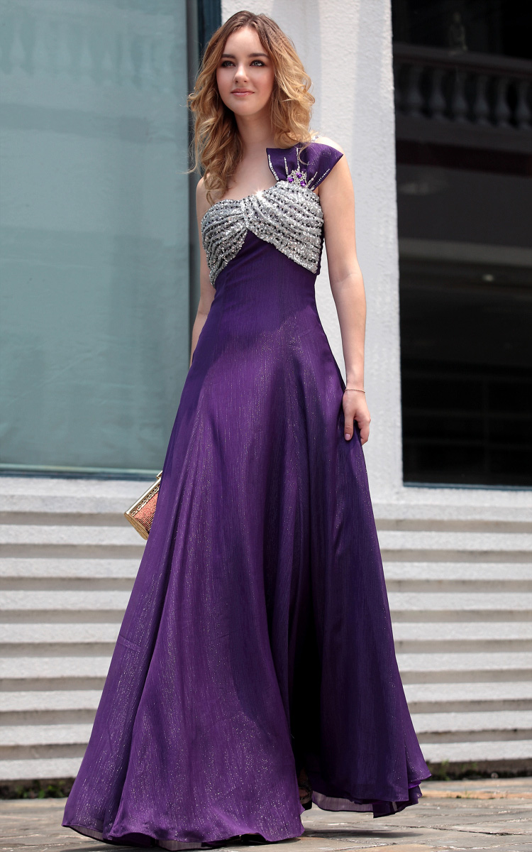 A-line One-shoulder Backless Purple bridesmaid dresses UK - £139.80 :