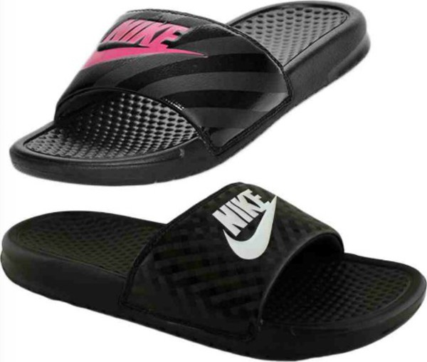 01307fc24ceb8 Women s Nike Benassi JDI Swoosh Slide Sandals Black Pink NWT SALE