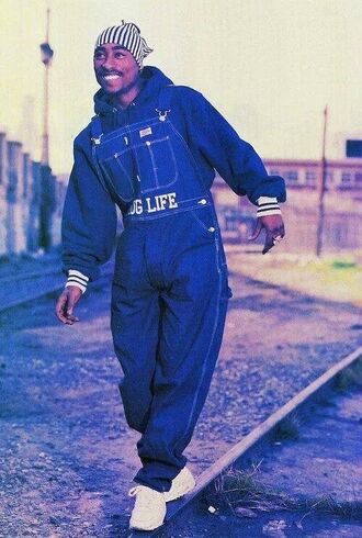 blouse tupac dope beanie overalls sweater thug life jumper black white nike african american shoes california denim jeans menswear jumpsuit dark blue says thug life tupac shakur hat