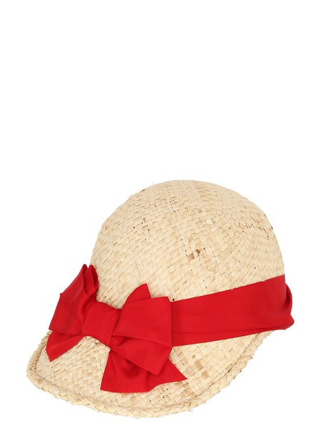 PATRIZIA FABRI Straw Hat With Grosgrain Bow in natural / red