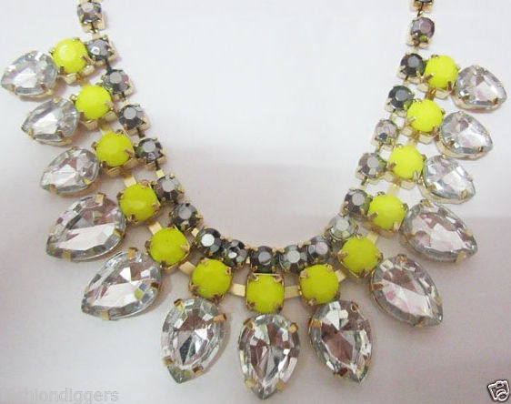 BNWT H&M hm gem Neon Stone Yellow Rhinestone collar burst Drop Choker Necklace | eBay