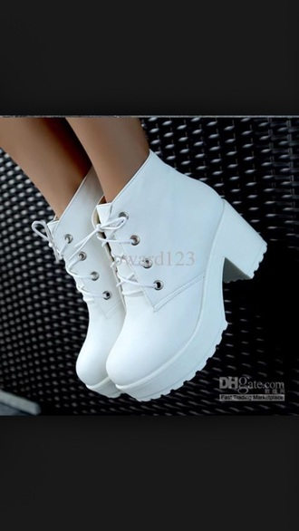 shoes white shoes boots platform boots chunky heels