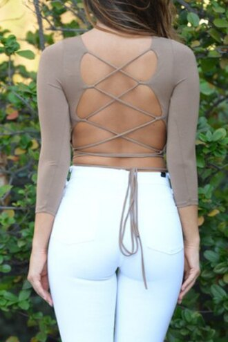 top strappy open back criss cross long sleeves nude sexy trendy clothes hot summer sexy u-neck candy color criss-cross 3/4 sleeve crop top for women