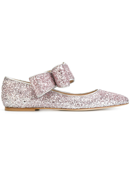 Polly Plume bow glitter women leather purple pink shoes