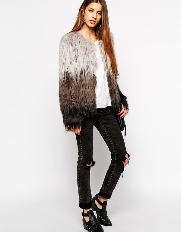 e6717a6d1 Barney's Originals Ombre Faux Fur Coat at asos.com