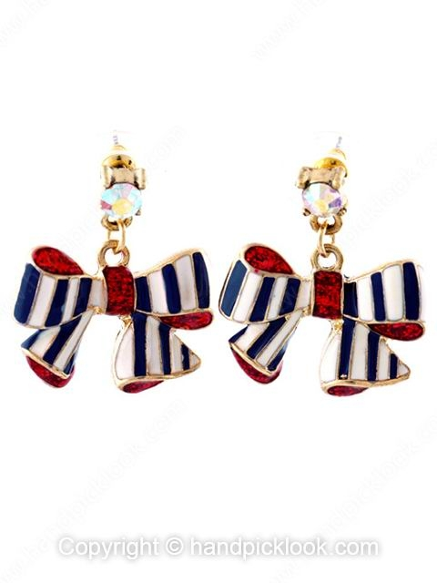 Red Gemstone Bow Gold Dangle Earrings - HandpickLook.com