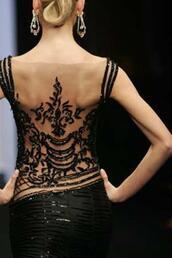dress,black dress,open back,backless,backless dress,sequin dress,tattoo,embellished dress,evening dress,little black dress,prom dress