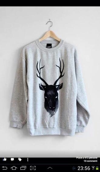 sweater shirt deer grey sweater black hipster indie vintage grunge soft grunge grunge wishlist