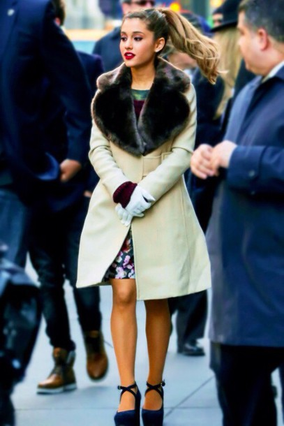 ariana grande winter dress coat shoes cute outfits warm