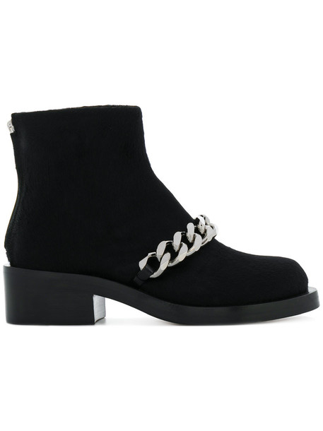 Givenchy fur women ankle boots leather black shoes