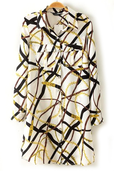 Intertwined Chain Shirt Dress - OASAP.com