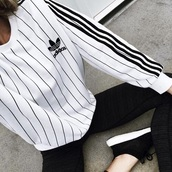 sweater,adidas,striped sweater,white,baddies,trendy,adidas sweater,black and white,shirt,black,tumblr,tumblr outfit,blouse,long sleeves,stripes,top,pullover,sweatshirt