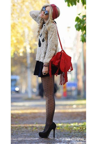 bag suede backpack red backpack sweater nude sweater skirt black skirt tights platform pumps pumps black pumps high heel pumps sunglasses round sunglasses fringe backpack backpack fringes accessory mini skirt fall outfits
