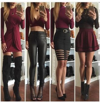 dress burgundy black black leggings leather leggings burgundy skirt thigh high boots fall outfits cut out crop top crop tops mesh top black top bodycon skirt skater skirt high waisted skirt draped dress fall dress pencil skirt black skirt sexy shoes fall colors suede boots long sleeve dress skirt mini burgundy dress pants