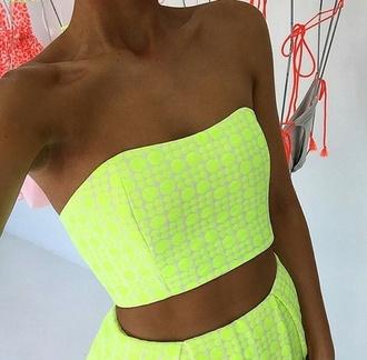 top crop tops bustier crop top crop tops high waisted shorts yellow top skirt highlight green spotty cute outfit