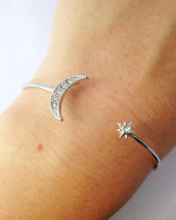 Moon Star Bracelet Adjustable Bracelet Simple Bracelet Plated Gold