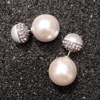 jewels jewel cult jewelry earrings double sided earrings peekaboo peekaboo earrings pearl pearl earrings bling