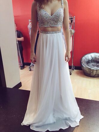 dress two-piece prom fashion long long dress white white dress two piece dress set prom dress glitter glitter dress diamonds crop tops long prom dress evening dress bridesmaid wedding clothes girly girl tumblr tumblr outfit