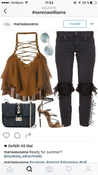 blouse top brown lace up top lace up gold jeans ripped jeans black jeans skinny jeans ankle jeans