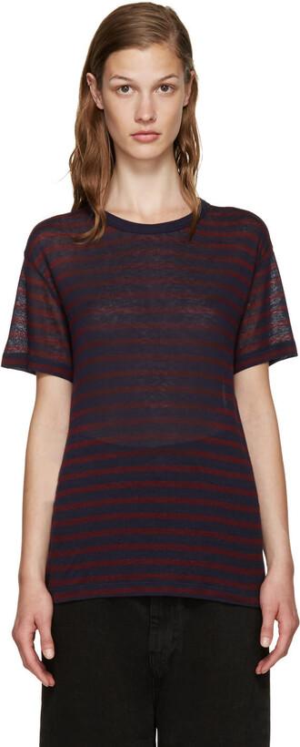 t-shirt shirt striped t-shirt navy red top