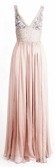 long dress blush sequin dress nude cream sequins glitter prom dress pink